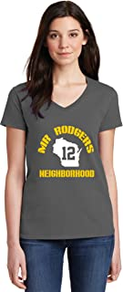 Charcoal Green Bay Mr Rodgers Neighborhood Ladies V-Neck