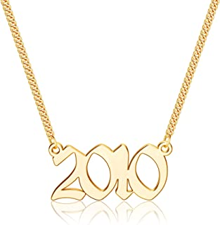 Ursteel Birth Year Number Necklace, 18K Gold Plated Old English Birth Year Pendant Necklaces Personalized Anniversary Birt...