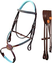 ExionPro Blue Bling Browband & Figure 8 Noseband Horse Bridle with Baby Blue Soft Lined Crown Piece & Rubber Reins. | English Bridle | Bling Horse Tack | Browbands for Horses with Bling