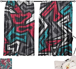 Michaeal Grunge Design Darkening Curtains Abstract Shapes in Graffiti Art Style Underground Hip Hop Culture Funky Street Wall Curtain Doorway Multicolor W63 x L45
