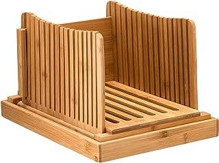 TOOGOO 竹パンスライサーカッティングガイド - 自家製パン、パンケーキ、ベーグル用の木製パンカッター折りたたみ式でコンパクト、パン粉トレイ付き、よく働く