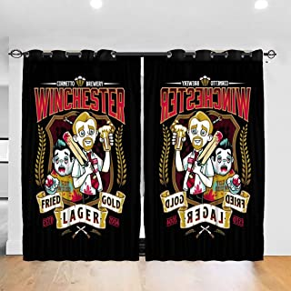 FDASLJ Customized Blackout Window Curtains Shaun of The Dead Winchester Fried Gold Lager Grommet Thermal Insulated Room Darkening Drape for Bedroom Living Room 52 X 72 Inch, 2 Panels