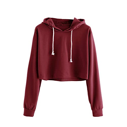 d0a2fd4ad0b00 MAKEMECHIC Women s Long Sleeve Letter Print Sweatshirt Crop Top Hoodies