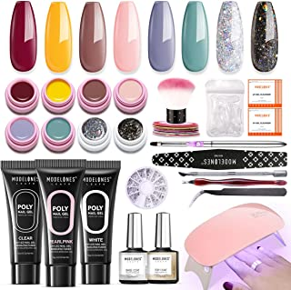 Modelones Poly Nail Gel Kit Gel Nail Polish Starter Kit with portable UV/LED Light Nail Lamp Base Top Coat, Soak Off Gel Polish Autumn Winter 8 Colors Home Manicure Tool Essentials Nail Art Gifts Box