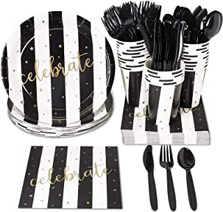 Juvale Black and Gold Party Supplies - Serves 24 - for Graduation, Birthday and Anniversary Parties