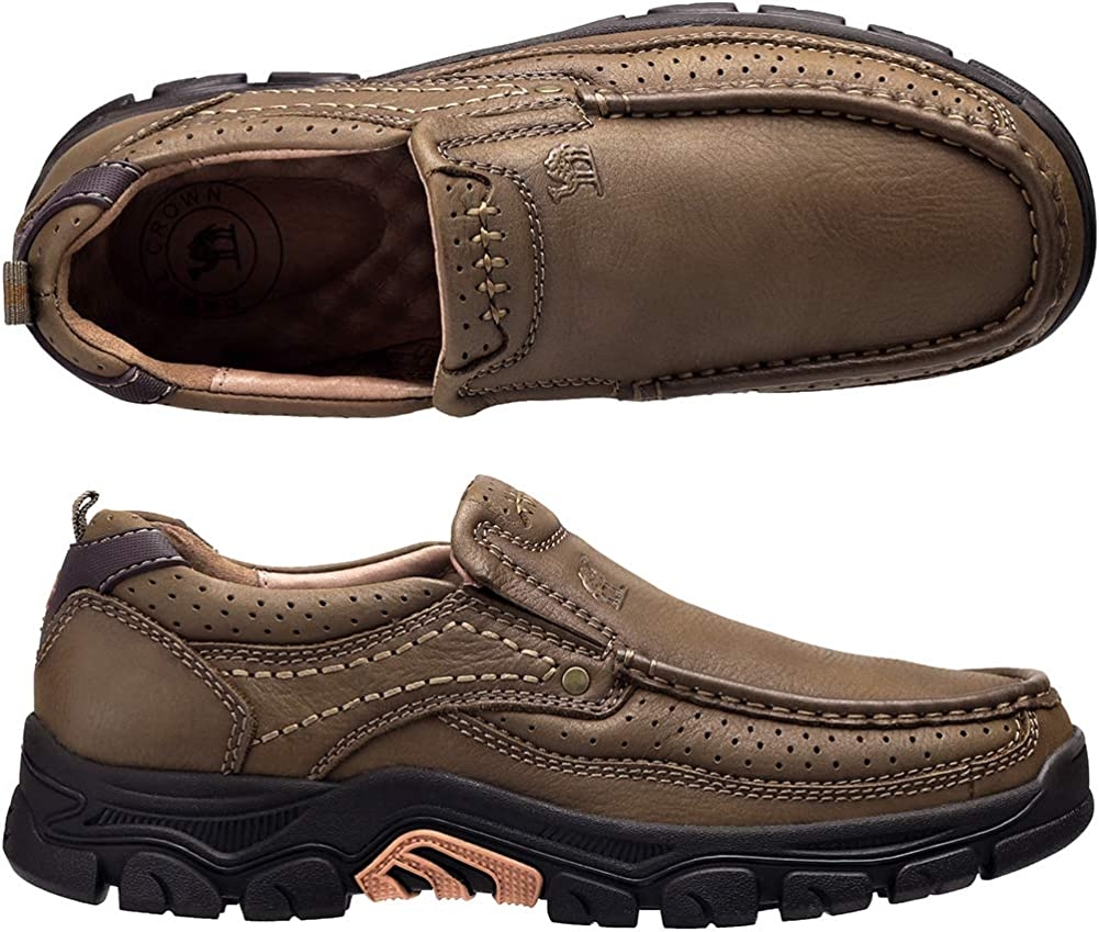 CAMEL CROWN Slipper Herren Mokassins Leder Weich Slip On Loafer mit Gummisohle Schuhe f/ür Herren Schwarz Braun 41-47