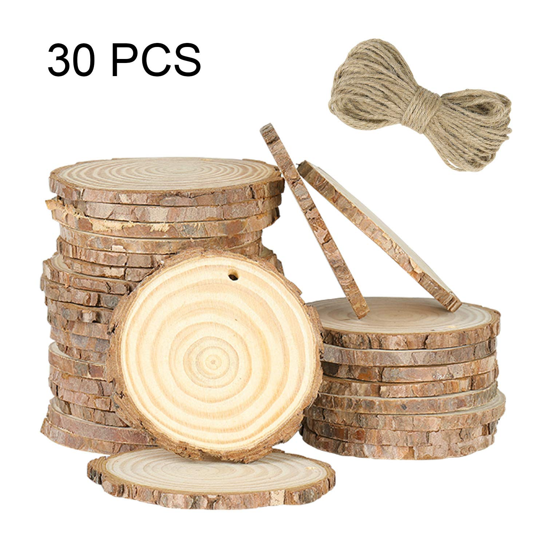 Rodajas de Madera C/írculos 6-7cm 30pcs Discos de Madera Rebanada Naturales 100m Cuerda de C/á/ñamo Maderas para Manualidades DIY Bricolaje Decoraciones Navidad Hogar Adornos