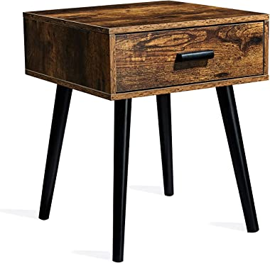 TianLang Nightstand with 1 Drawer, Set of 2 Industrial Side Table, Compact End Table for Small Spaces, Stable Wooden Legs, Re