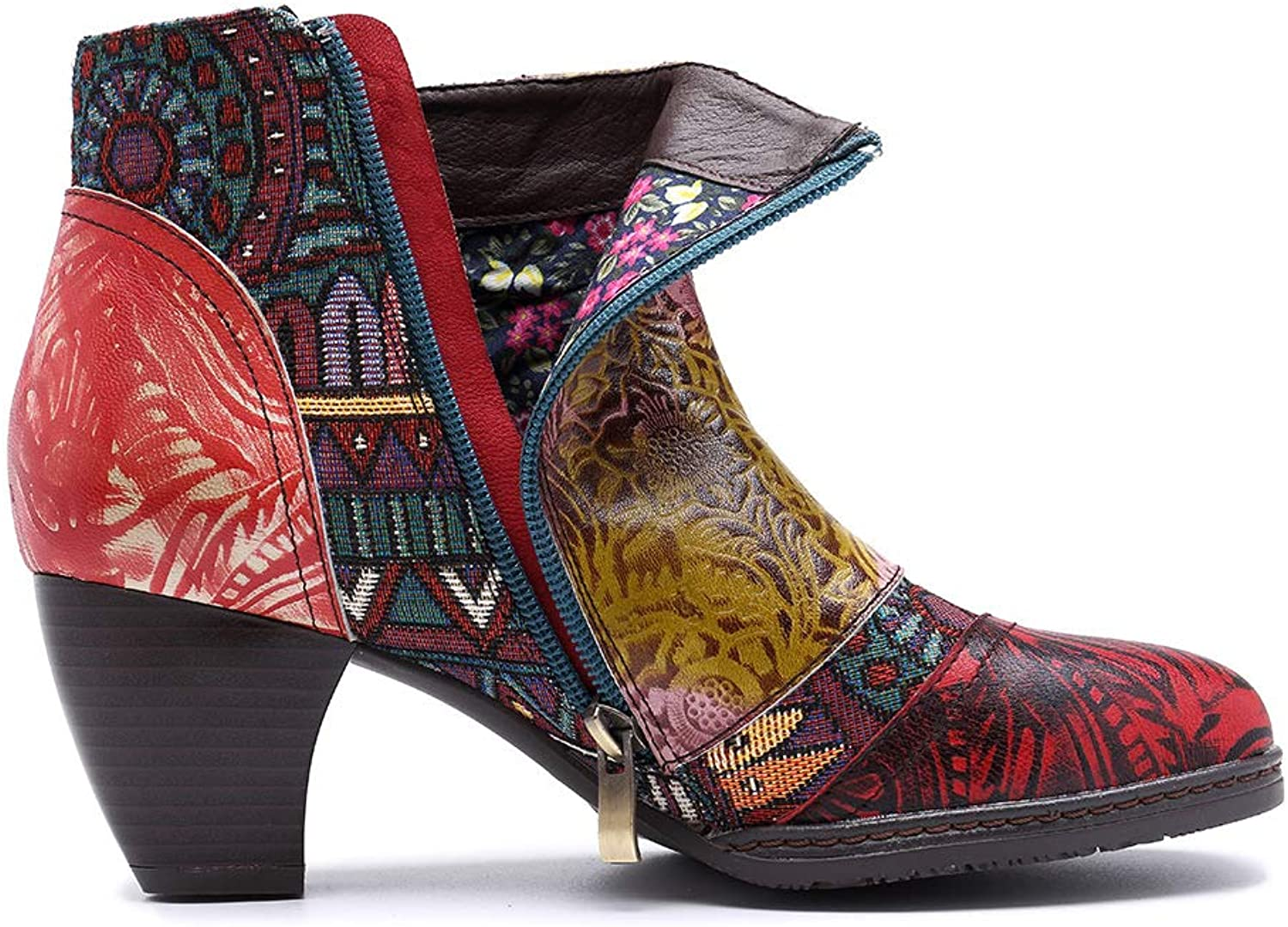 Women's Leather Ankle Boots, Casual Oxford Boots Block Heels with Bohemian Pattern Warm Boot Brown