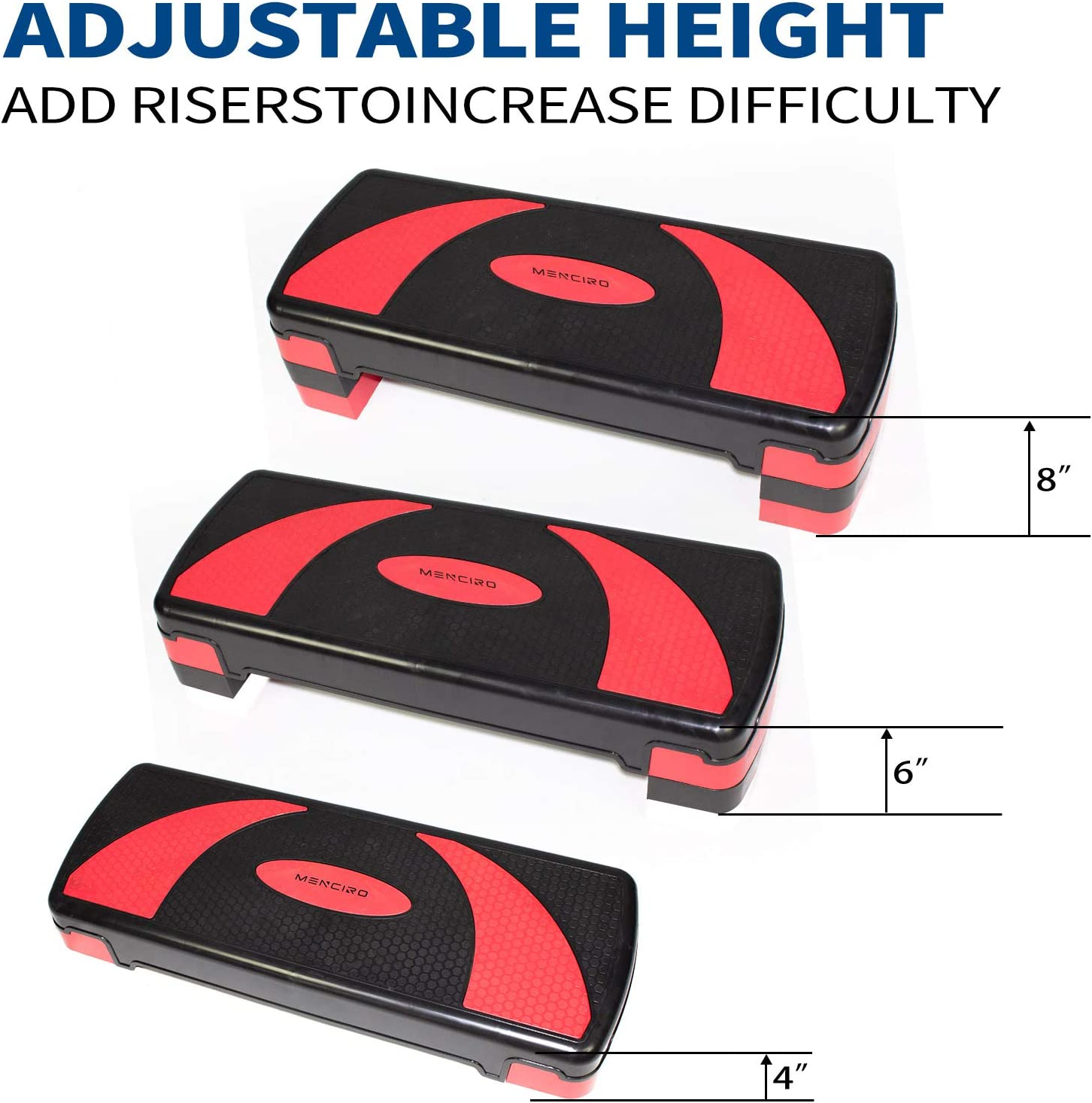 Aerobic Step with Non-Slip Surface for Home Gym MENCIRO Steppers for Exercise Workout Step Up Exercise Platform with Adjustable Riser Height