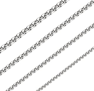 3MM Square Rolo Chain Stainless Steel Round Box Chain Necklace Men Women Jewelry 36 Inches