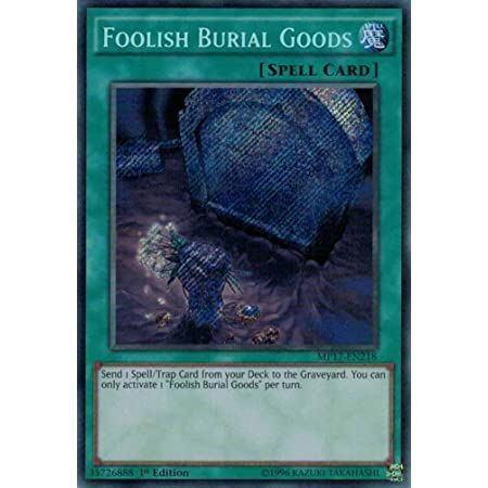 Yu Gi Oh Foolish Burial Goods Mp17 En218 Secret Rare 1st Edition 2017 Mega Tin Mega Pack 1st Edition Toys Games