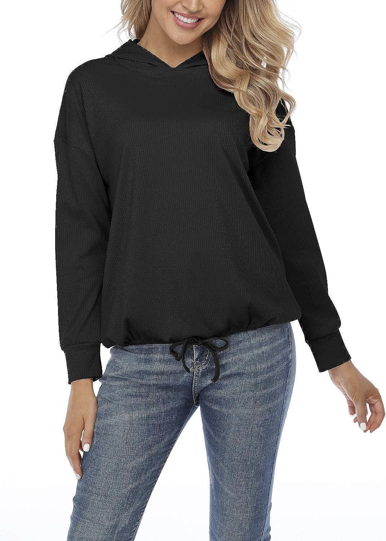 JULYER Women's Tie Knot Knit Hoodie Sweatshirt for Women Long Sleeve Pullovers Casual Solid Lightweight Tunic Tops