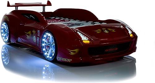 toma Auto Cama Infantil fivex rojo Equipo Completo con LED LED LED Sonidos somier Mando a Distancia de Muebles de Tiempo  descuento de bajo precio