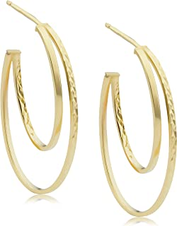 KoolJewelry 14k Yellow Gold Diamond-Cut Graduated Double Oval Open Hoop Earrings (1.6 inch)
