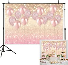 7x5ft Durable/Soft Fabric Rose Gold Party Decorations Pink Balloon Gold Glittter Bokeh Photo Backdrop for Birthday Baby Bridal Shower Bachelorette Party Supplies Photography Background Studio Props