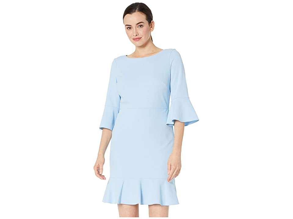 Nine West Drapey Crepe Bell Sleeve Dress with Ruffle Skirt (Sky) Women