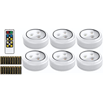 Brilliant Evolution LED Puck Light 6 Pack with Remote | Wireless LED Under Cabinet Lighting | Under Counter Lights for Kitchen | Battery Operated Lights | Under Cabinet Light | Battery Powered Lights