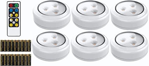 Brilliant Evolution LED Puck Light 6 Pack with Remote | Wireless LED Under Cabinet Lighting | Under Counter Lights for Kit...