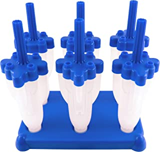 Tovolo Rocket Ice Pop Mold Popsicle Maker, Drip-Guard, Sturdy Stand Base, 2.5 Fluid Oz, Set of 6, Blue