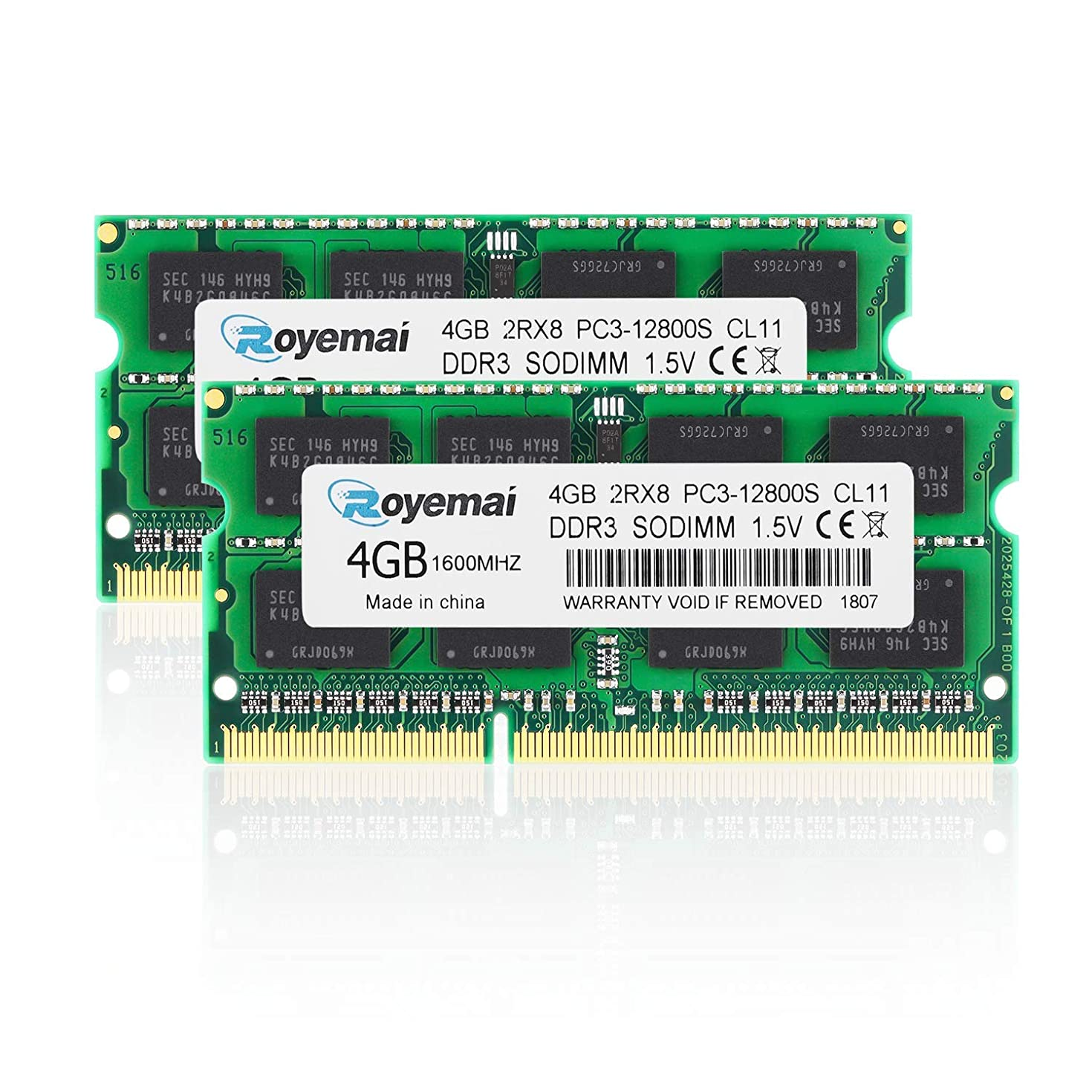 ROYEMAI PC3-12800, DDR3 1600, RAM DDR3 8GB Kit (2x4GB) 1.5V CL11 204-pin 2Rx8 PC3 12800S 1600 MHZ DDR3 Notebook Memory RAM Modules for Laptop