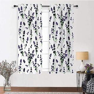Interestlee Room Darkening Curtains Flower for Living/Bedroom Room Patio Door Watercolor Lavender Flowering Fragrant Pale ...