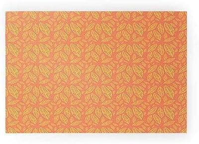 "Society6 Allyson Johnson Fall Leaves Pattern Welcome Mat, 36"" x 24"", Orange"