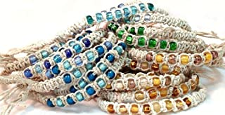 Hemp Anklet Bracelet, with Glass Beading, Quality Cording and a Buy 2 Get 3 Option