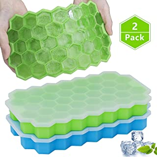 Ice Cube Trays with Lids, GDREAMT 2 Pack Silicone Ice Tray with Removable Lid Easy Release Flexible 37 Ice Cube Molds BPA Free for Whiskey, Cocktail, Stackable & Dishwasher Safe