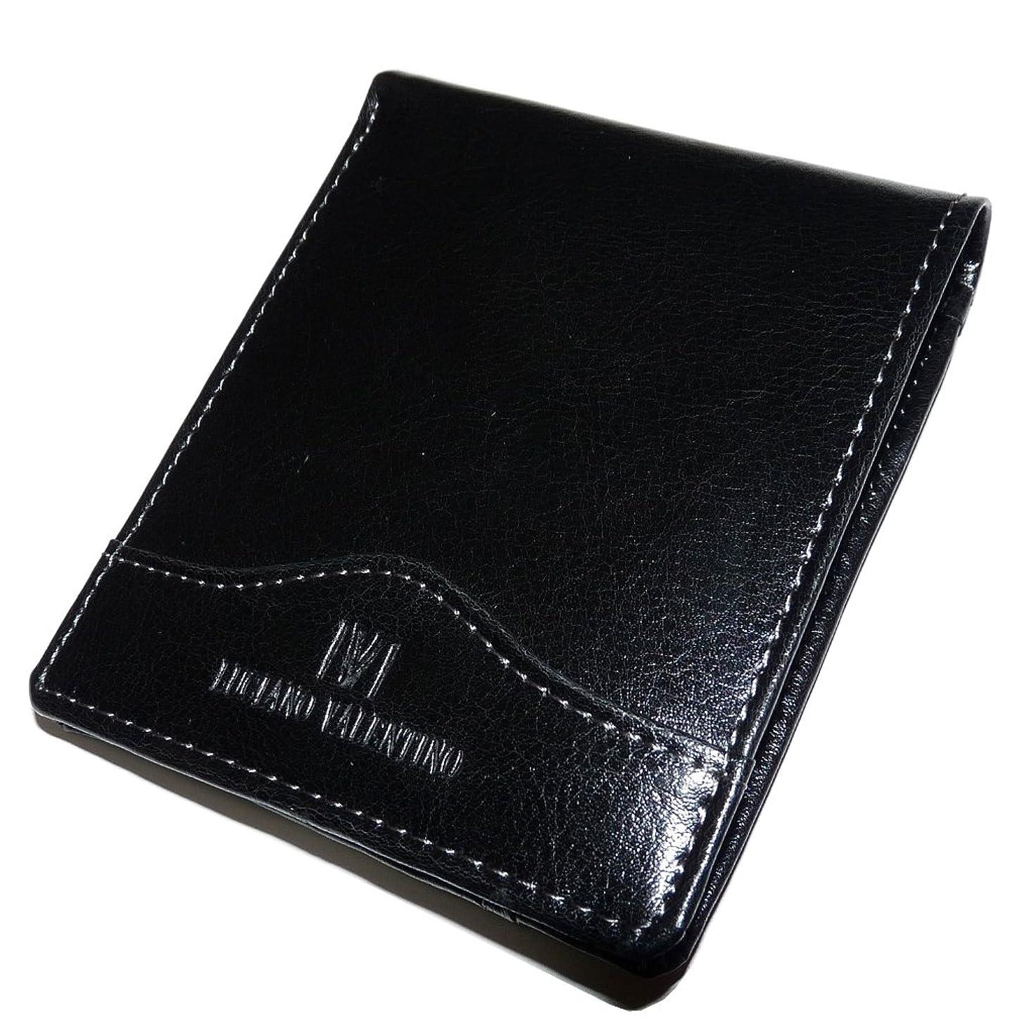 肥沃な階層厄介な光沢レザーがスーツに映える! 大人の牛革短財布 カードスライダー付 [ LUCIANO VALENTINO ブラック ] 誕生日プレゼント 人気ブランド