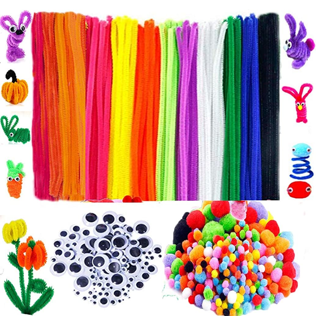 BellaBetty 500 Pcs Craft Supplies Set Which Includes 100 Pcs Pipe Cleaners Chenille Stem, 250 Pcs Pom Poms, 150 Pcs Wiggle Googly Eyes for School Art Projects