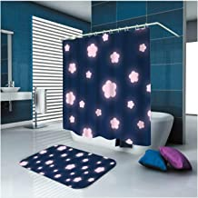 Epinki Polyester Bathroom Curtain Set Colorful Flower Durable Shower Curtain with 12 Hooks Size 150x180CM Shower Curtain f...