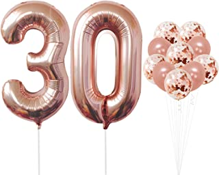 Rose Gold 30th Birthday Decorations – 30 Balloons | Large Mylar Foil Balloon and Confetti Latex Balloons | Real Rose Gold Party Supplies | Great for 30 Years Birthday, Anniversary, Home Office Decor