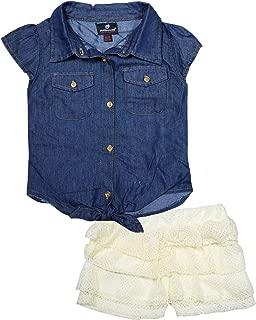 Dollhouse Conjunto de 2 Piezas de Verano de Mezclilla y Pantalones Cortos de Encaje para niñas