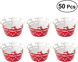 Healifty Hollow Deers Flowers Pattern Cupcake Wrappers Decor Wrap 50 Pcs(Reflective Red)