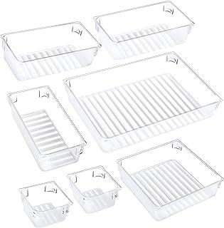 Puroma 7-pcs Desk Drawer Organizer Trays, 4 Different Sizes Large Capacity Plastic Bins Kitchen Drawer Organizers Bathroom...