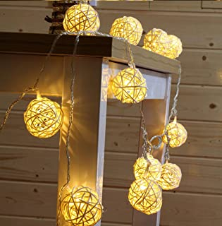 9.8 Feet 20 Rattan Ball Fairy String Lights Plug in, Flexible Romantic Warm Lighting for Home Decor (Warm white)