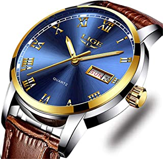 Men's Sport Quartz Watch Roman Numeral Fashion Analog Luminous Wristwatch with Calendar Date,Waterproof 30M Water Resistant Comfortable Leather Watches Brown …