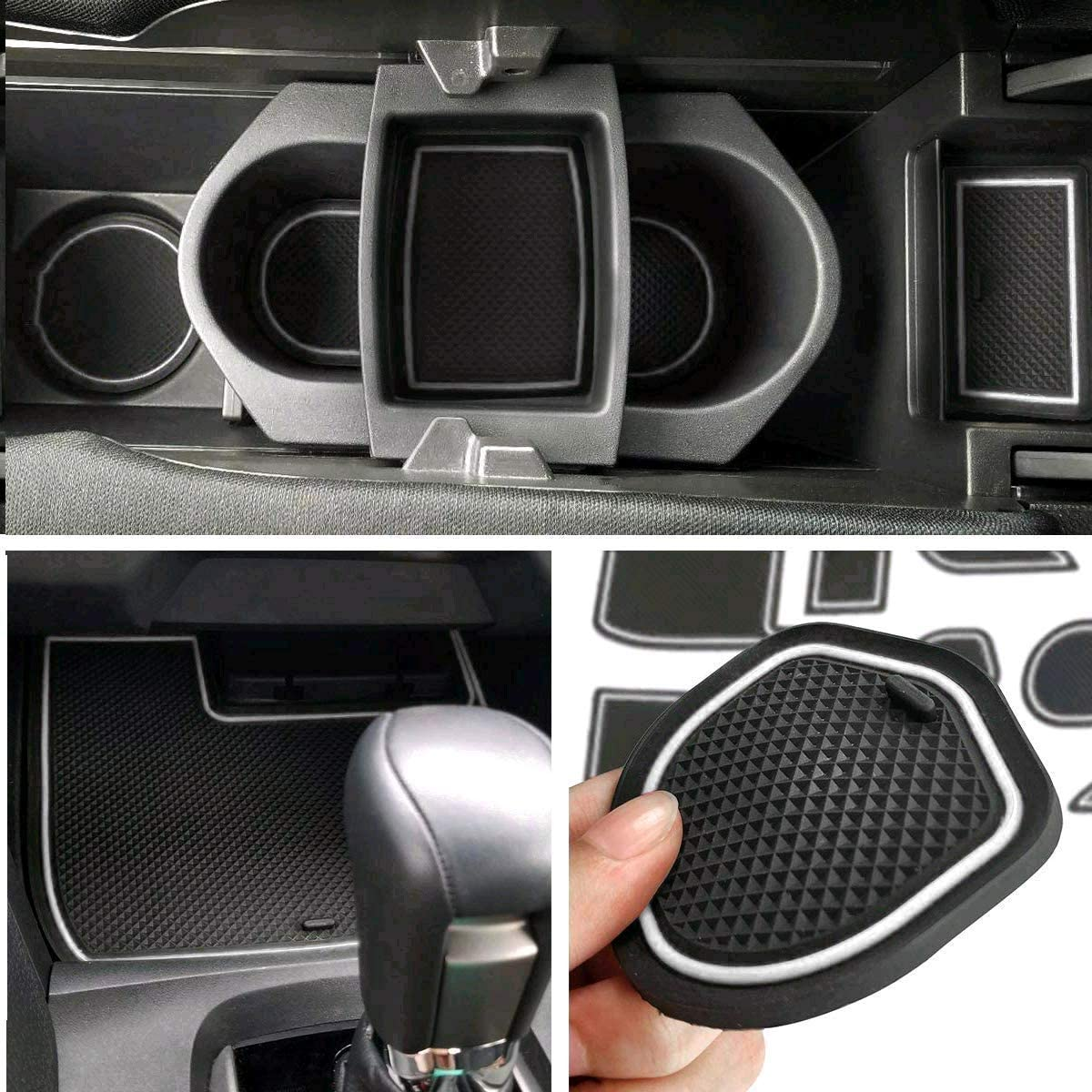 Auovo Anti-dust Door Mats Inserts Cup Center Console Liner Accessories Fit for Honda Civic Sedan 2016 2017 2018 2019 2020 21pcs//Set, White