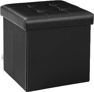 """B FSOBEIIALEO Folding Storage Ottoman Footrest Stool Faux Leather Seat Chest 12.6""""X12.6""""X12.6"""", Fso-baby-black"""