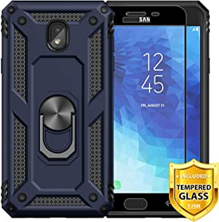 TJS Phone Case Samsung Galaxy J7 2018/J7 Refine/J7 Star/J7 Eon/J7 TOP/J7 Aero/J7 Crown/J7 Aura/J7 V 2nd Gen, [Full Coverage Tempered Glass Screen Protector][Metal Ring][Magnetic Support] Cover (Blue)