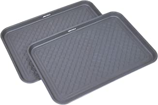 GREAT WORKING TOOLS Boot Trays - Set of 2 Gray All Weather Heavy Duty Shoe Trays, Pet Bowl Mats Trap Mud, Water and Food M...