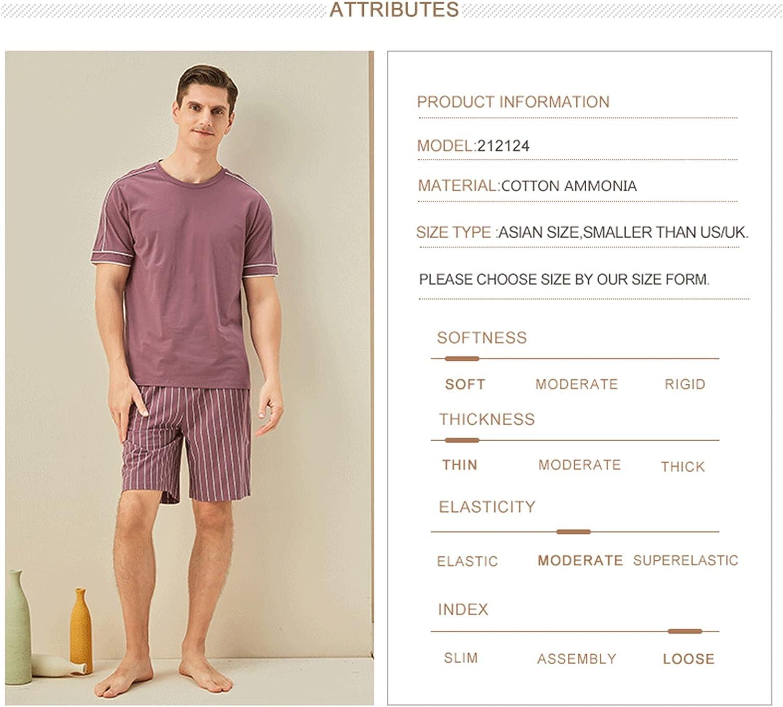 LZJDS Mens Pajamas Set Pjs Set Knitted Cotton Stripe Crewneck Short Sleeve Shorts Sleepwear M-3XL,Light Purple,L