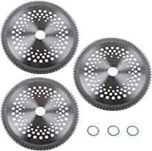 """Sponsored Ad - Wadoy 8"""" 80T Carbide Tip Blades 3 Pack with Washer Fit for Common Brush Cutter Trimmer Weed Eater Blade"""