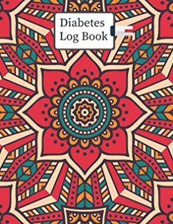 Diabetes Log Book: 2 Years, Daily Target Blood Sugar Range Insulin Does Grams Carb Phys Activity Record (Red Pattern-Design)
