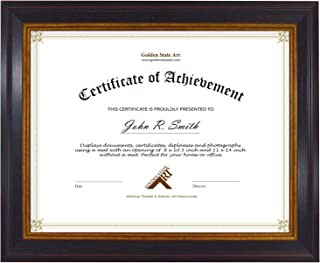 Golden State Art, 8.5x11 Frame for Diplomas/Certificates, Real Glass & Table-Top Display, Black Gold & Burgundy