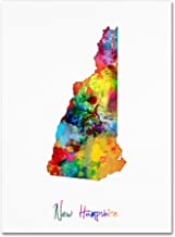 New Hampshire Map by Michael Tompsett, 14x19-Inch Canvas Wall Art