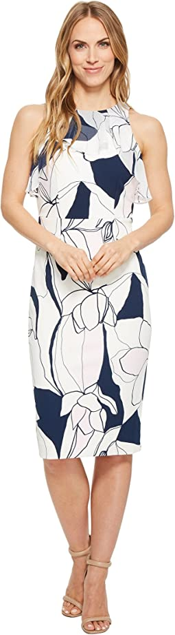 Ivanka Trump Scuba Crepe Printed Midi Sleeveless with Georgette Ruffle