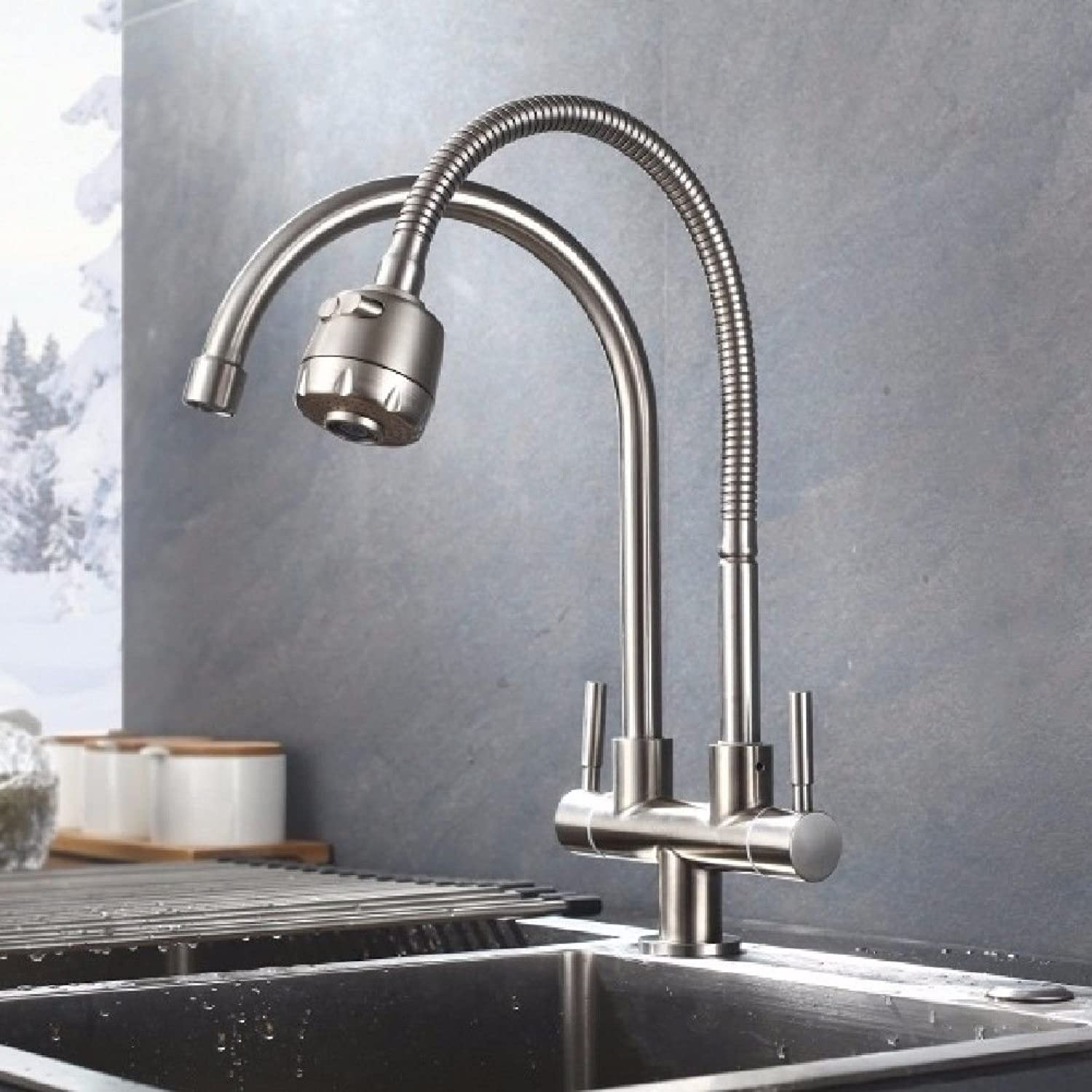 Lpophy Bathroom Sink Mixer Taps Faucet Bath Waterfall Cold and Hot Water Tap for Washroom Bathroom and Kitchen 304 Stainless Steel Bidirectional Single Cold Universal Tube Hot and Cold B