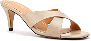 Greatonu Womens Low Heel Mule Slippers Slip On Cross Strap Heels Sandals